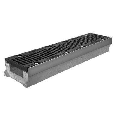 gidrolica kanal betonny dn100 super 310mm 1 400x400 - Комплект: лоток водоотводный SUPER бетонный DN150 H130 с решеткой щелевой чугунной ВЧ (Арт. 0415)