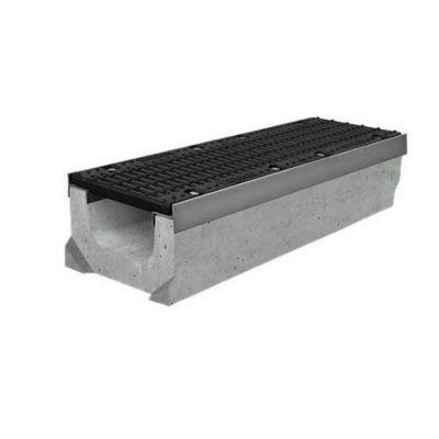 gidrolica kanal betonny dn200 super 230mm 1 400x400 - Комплект: лоток водоотводный SUPER бетонный DN150 H310 с решеткой щелевой чугунной ВЧ (Арт. 0416)